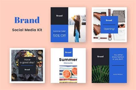 Brand Social Media Kit Facebook Templates Creative Market Social Media Branding Templates