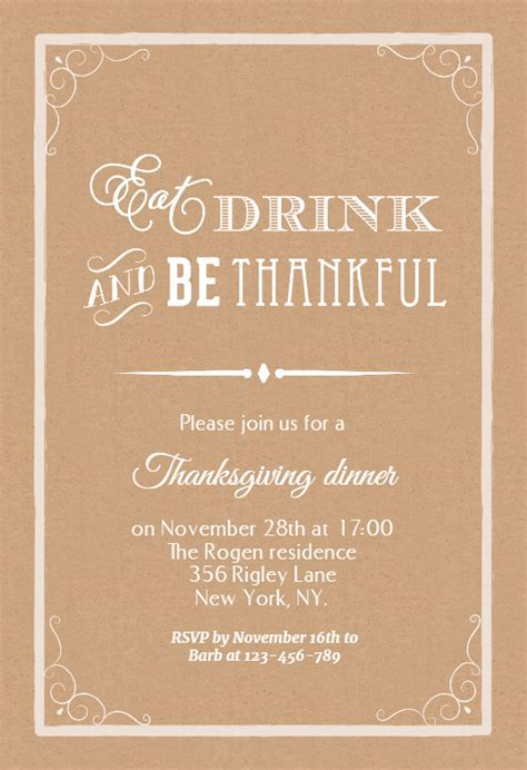 Eat Drink And Be Thankful   Thanksgiving Invitation