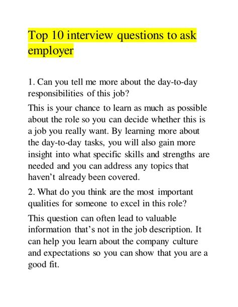 How To Ask A Or Question Top 10 Questions To Ask Employer