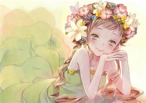 Kawaii Anime In A Floral Dress Iphone All Hp pretty flower other anime background wallpapers on