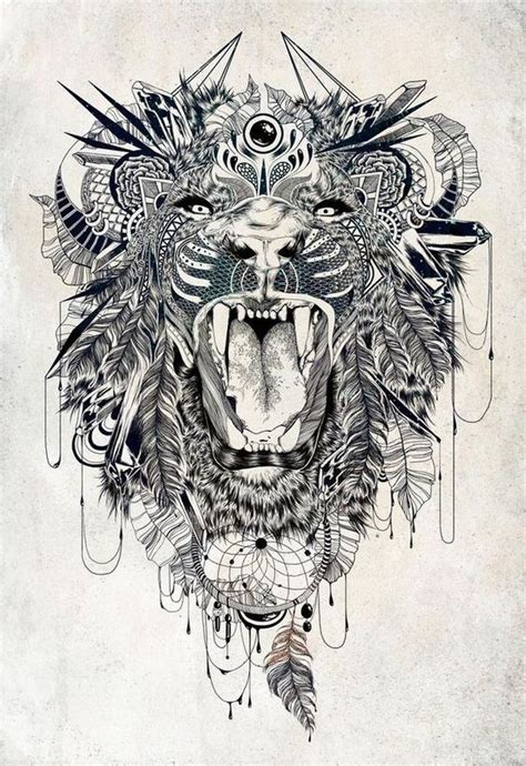 lion zendoodle drawn by justine galindo signed prints geometrische t 228 towierungen l 246 we kunst and tattoo ideen on