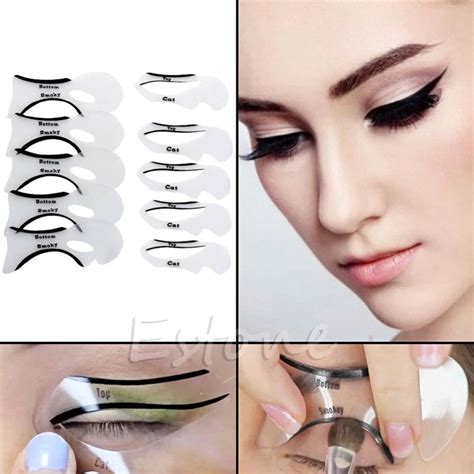 tutorial eyeliner stencil cat eye eyeliner stencil models template 10pcs eye