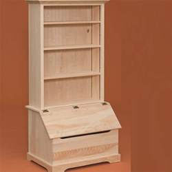 Unfinished Solid Wood Bookcases Toy Box With Bookcase Storage