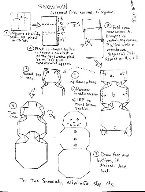 How To Make A Paper Snowman - origami snowman and snowflake