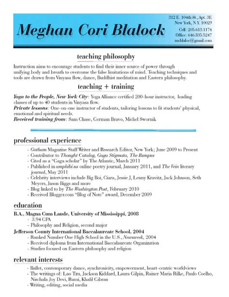 Resume Sample Yoga Instructor by Yoga Meghan Blalock New York City Fashion Writer
