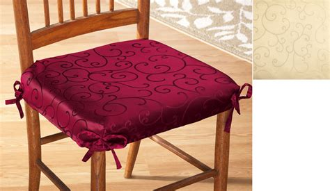 Scroll Damask Chair Cushion Seat Cover Ebay Dining Chair Cushion Cover