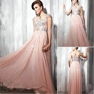In stock hottest style cap sleeves beaded chiffon pale pink prom dress