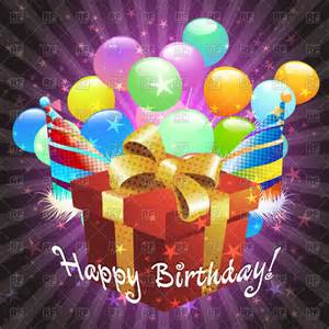 birthday greeting card gift box and balloons vector image 44305 rfclipart