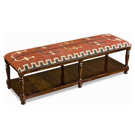kilim bench mtn ray long rustic kilim and solid wood bench kathy