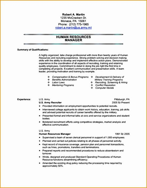 7 military resume templates free sles exles