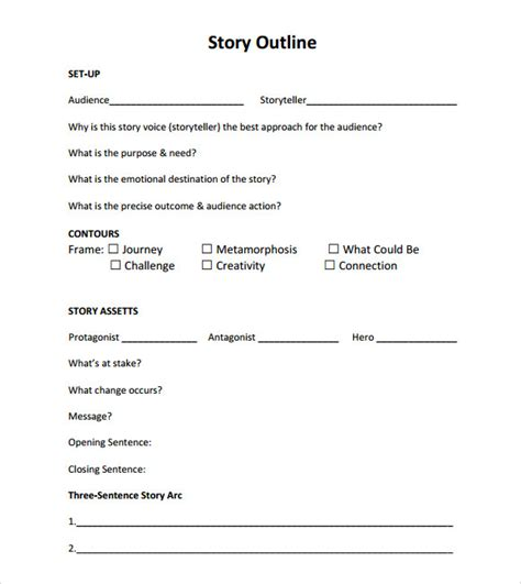 story outline template for story outline sle 9 documents in pdf word