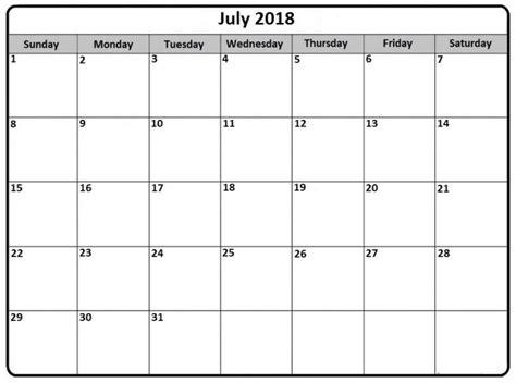 blank calendar template 2018 printable july 2018 calendar calendar
