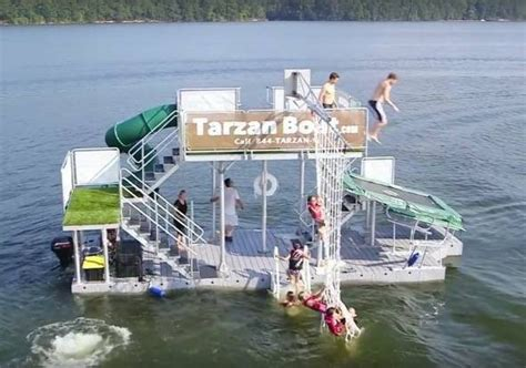 floating rope swing your own floating waterpark tarzan boat gadgetking com