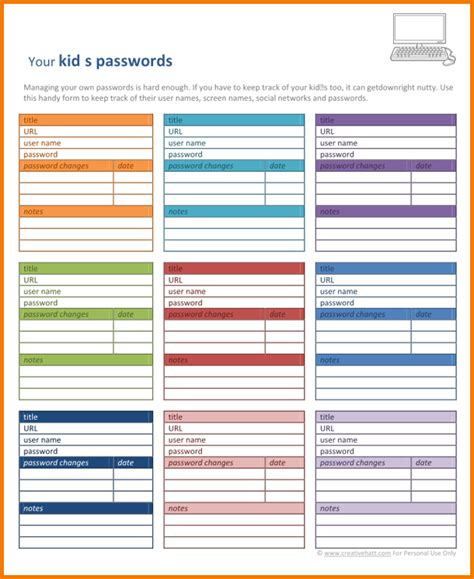 Password Template Authorization Letter Pdf Free Excel Password Manager Template