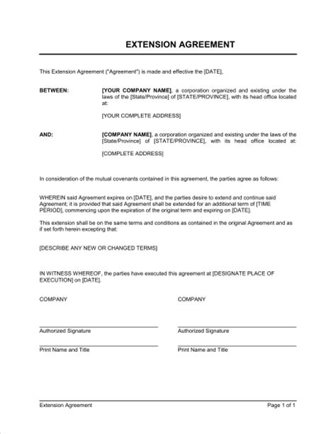 Contract Extension Letter Sle Extension Of Agreement Template Sle Form Biztree