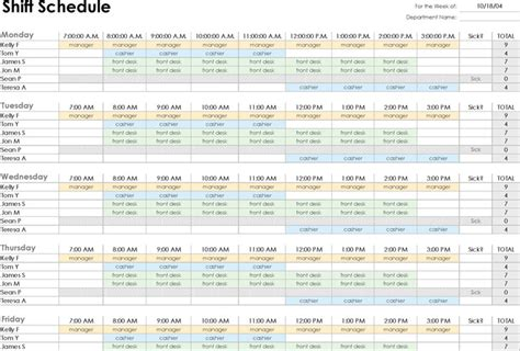 employee shift schedule template work schedule template