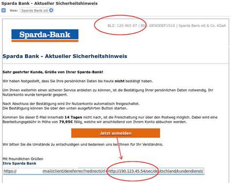 e mail sparda bank bsifb beispiele phishing angriffe beispiele f 252 r
