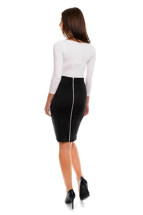 black pencil skirt with back zipper fastening