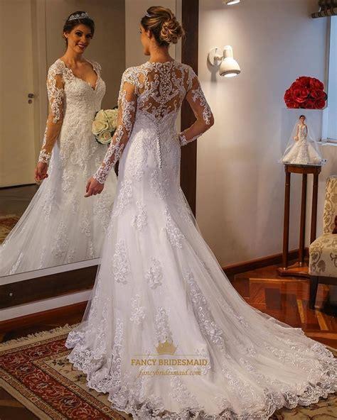 neck long sleeve floor length tulle wedding dress