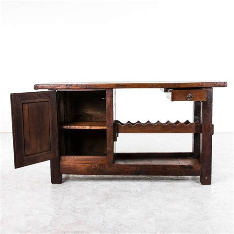 wine bench rustic antique french carpenter s work bench or console with wine rack at 1stdibs