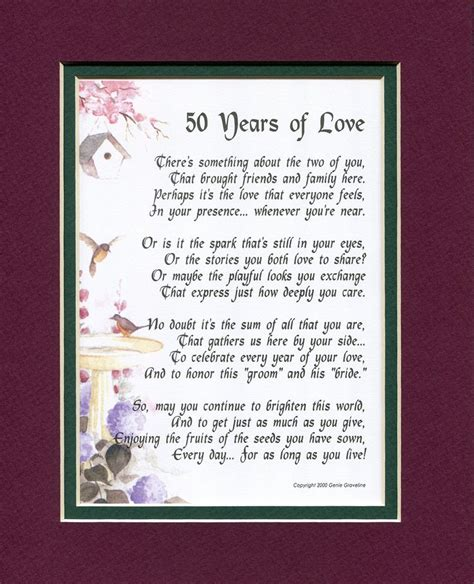 50th wedding anniversary verses for and 50 years of 119 touching poem a gift for a 50th wedding anniversary matted in