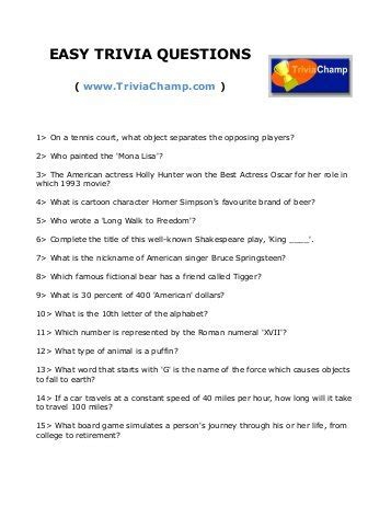 How Do You Search For On Trivia Easy Trivia Questions For Seniors 1000 Images About