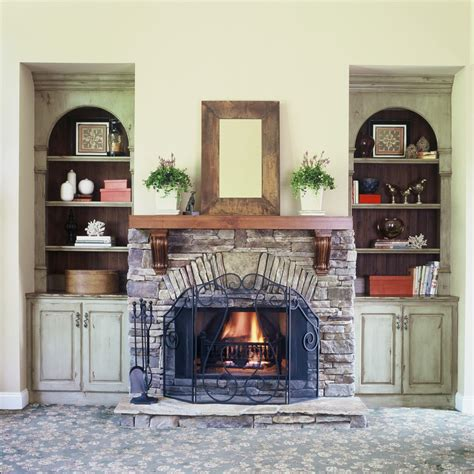 fireplace mantel bookshelves living room traditional with