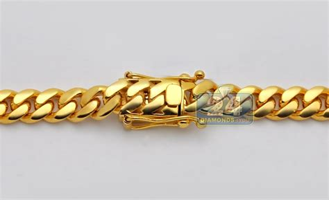 Handmade Gold Chains - handmade 24k yellow gold miami cuban link mens chain 11 mm