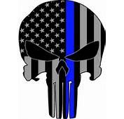 Punisher Bue Line USA Skull Vinyl Decal Sticker Police