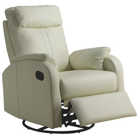 Contemporary Bonded Leather Recliner Ivory Recliners