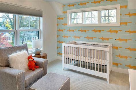 nursery decor stores orange and gray boy nursery with scion mr fox wallpaper