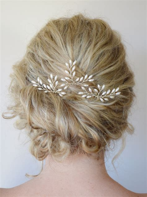 Vintage Wedding Hair Brooches by Wedding Hair Accessories Bridal Hair Pins Rice Pearl