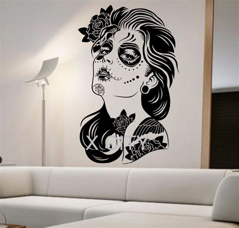 day of the dead bedroom ideas day of the dead wall decal roses girl vinyl sticker art