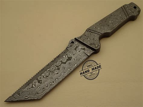 Handcrafted Knives - damascus tracker knife custom handmade damascus steel