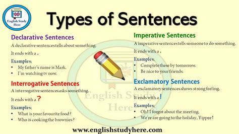 types  sentences  english english study