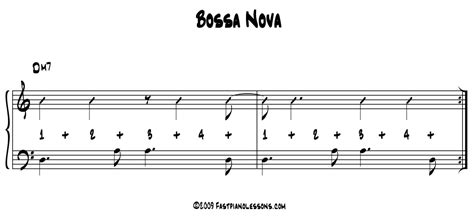drum pattern for bossa nova bossa nova groove left hand bass right hand comping