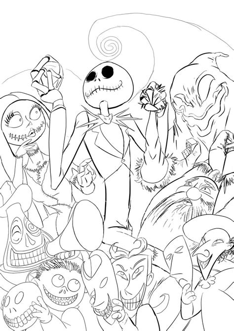 Nightmare Before Characters Coloring Pages Nightmare Before Xmas Line Art By Semajz On Deviantart by Nightmare Before Characters Coloring Pages