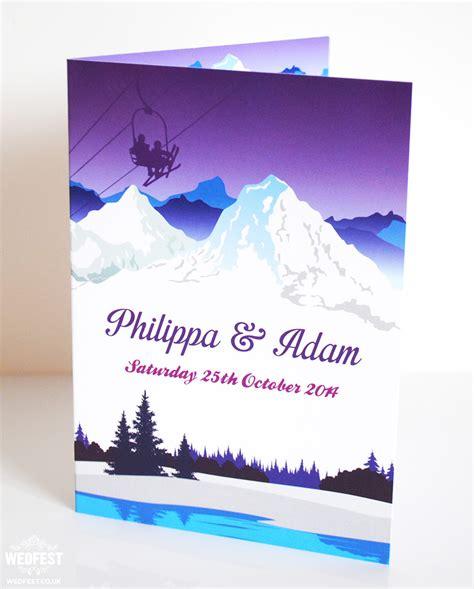 theme wedding invitations ski themed wedding stationery wedfest