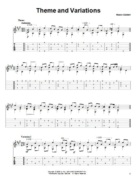definition theme and variations in music theme and variations guitar tab by mauro giuliani guitar