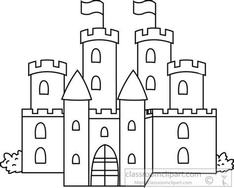 fantasy medieval castle black white outline clipart