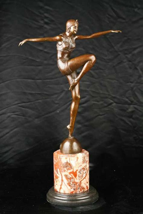 art deco bronze figurine signed philippe