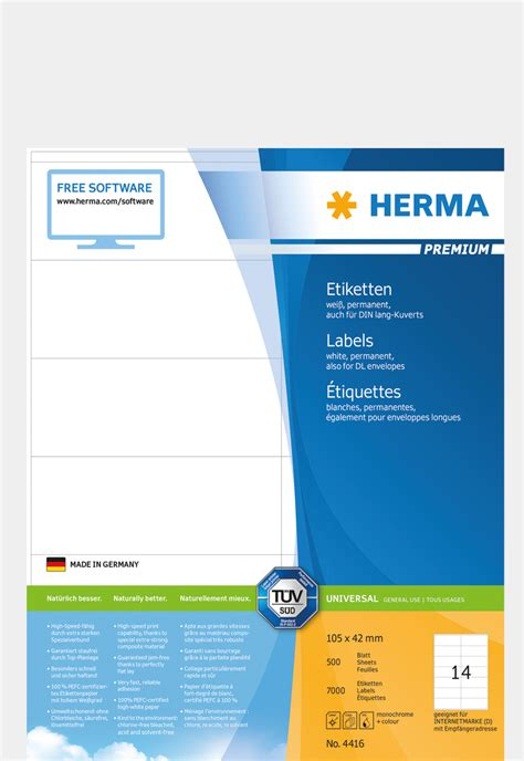Herma Label Template