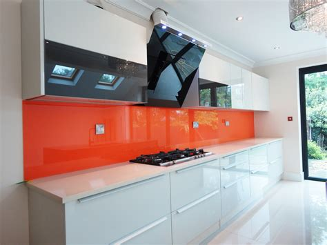 white kitchen with pink splashback gallery glass outlet