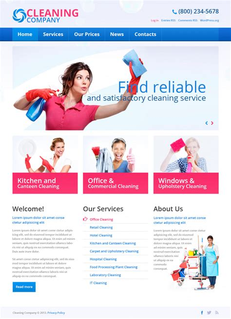 Cleaning Company Free Wordpress Theme Free Templates Online Housekeeping Website Templates Free