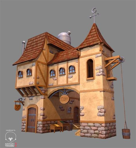 fantasy houses artstation low poly stylized fantasy house 1 gerald cruz hand painting texture pinterest