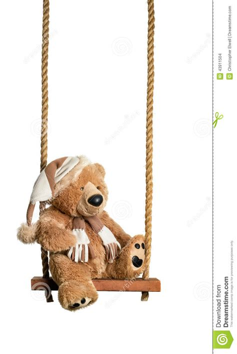 bear swing teddy on the swing stock photo image 43911504