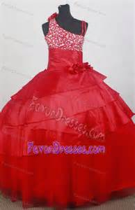 impressive asymmetrical red flowers tulle pageant dresses