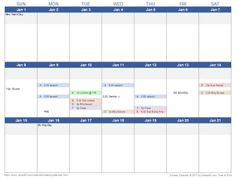 Calendars Templates Weekly Calendar Template For Excel