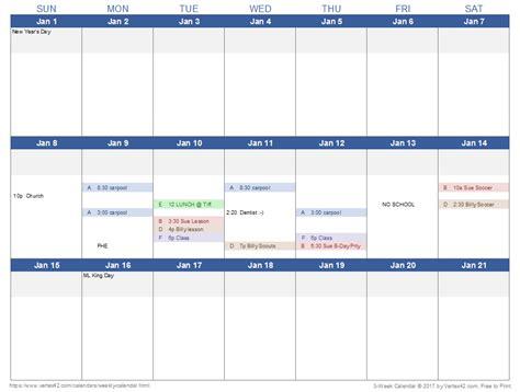 Weekly Calendar Excel   calendar template excel