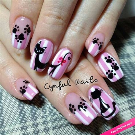 imagenes de uñas pintadas gatos u 241 as rosas decoradas decoradas con gatos kitty nails